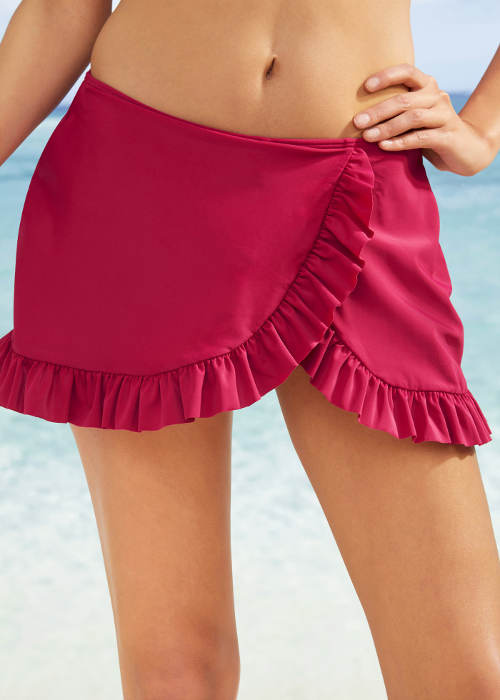 Červená koupací sukně zavinovacího střihu