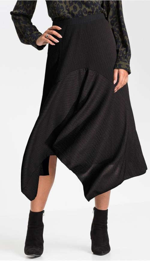 Cípová černá sukně asymetrického střihu