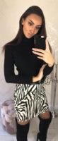 Dámská krátká zebrovaná sukně