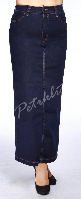 Dlouhá džínová sukně pro plnoštíhlé