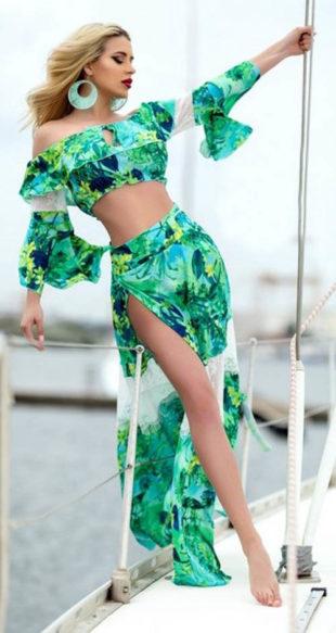 Dlouhý dámský sukňový komplet