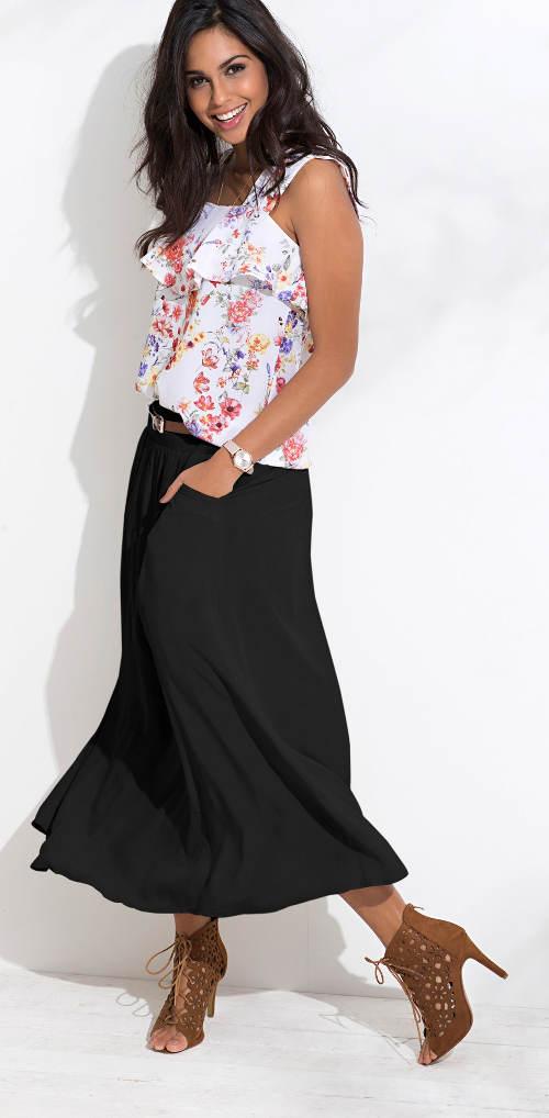 Jednobarevná černá maxi sukně s kapsami