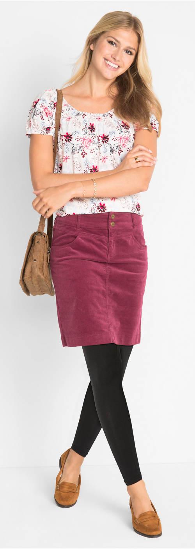 Krátká barevná sukně k legínám