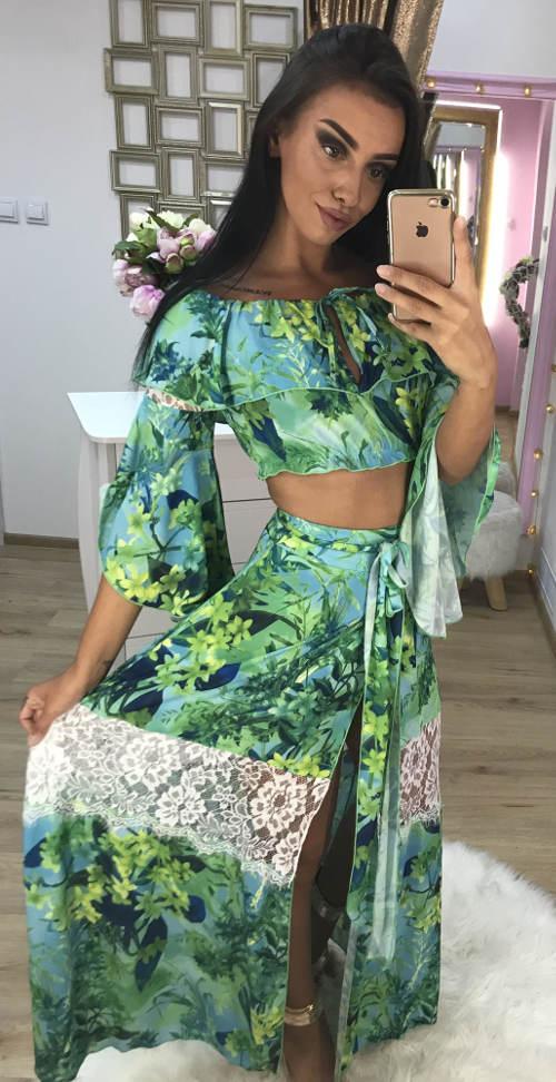 Květinová maxi sukně s krajkou