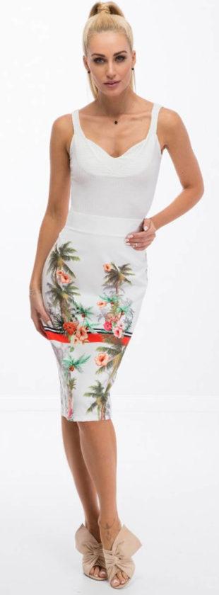 Letní pouzdrová sukně s potiskem palem