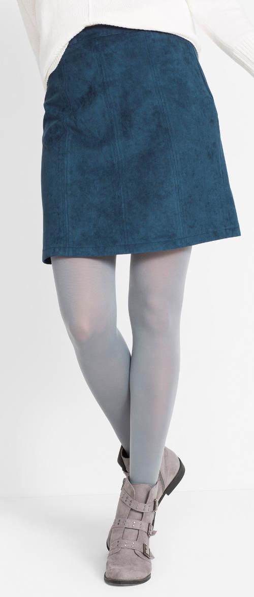 Modrá semišová sukně