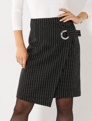 Pouzdrová pruhovaná zavinovací sukně