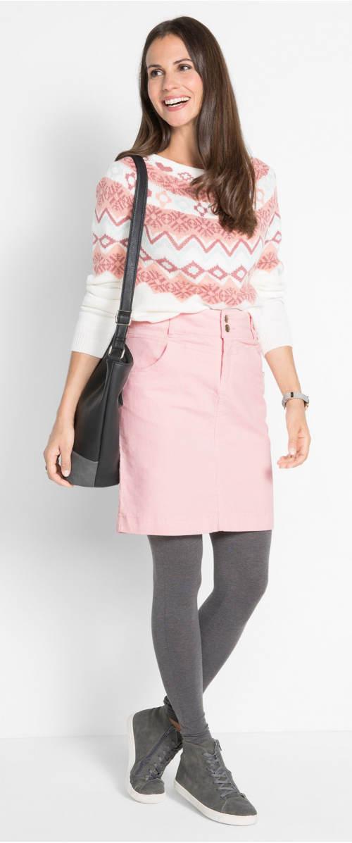 Růžová zateplená sukně ke svetru