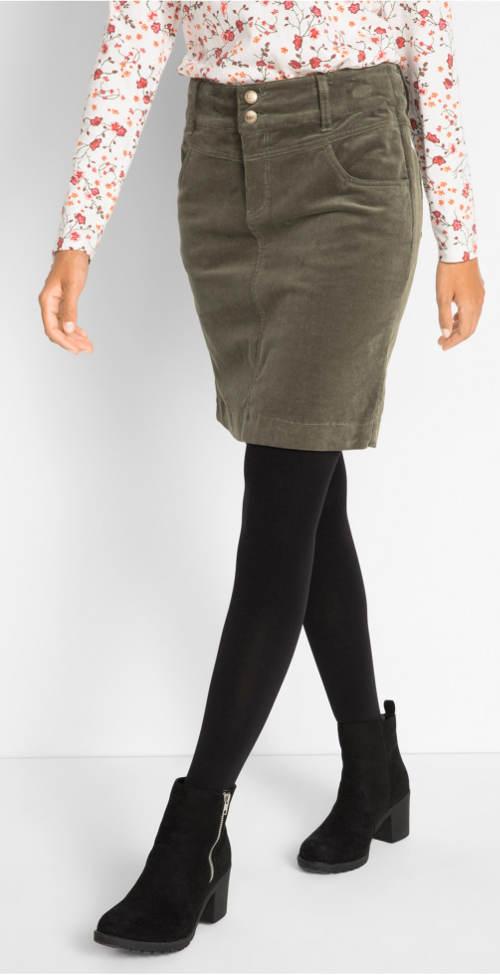 Strečová manšestrová sukně v mnoha barevných odstínech