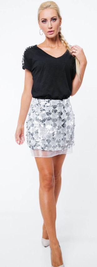 Stříbrná sukně s flitry a tylem