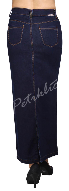 Tmavě modrá dlouhá riflová sukně