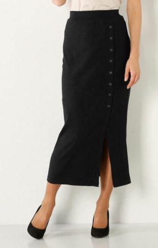 Žebrovaná sukně s vysokým rozparkem