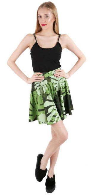 Zelená letní sukně s celoplošným potiskem
