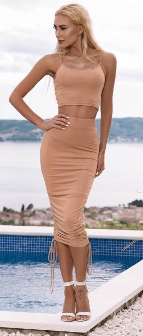 Broskvová letní sukně s nastavitelnou délkou