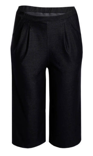 Černá kalhotová sukně nejen pro plnoštíhlé