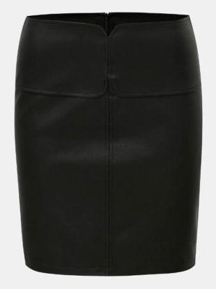 Černá kratší koženková sukně