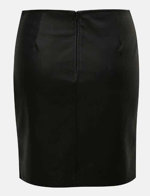 Černá pouzdrová kožená sukně