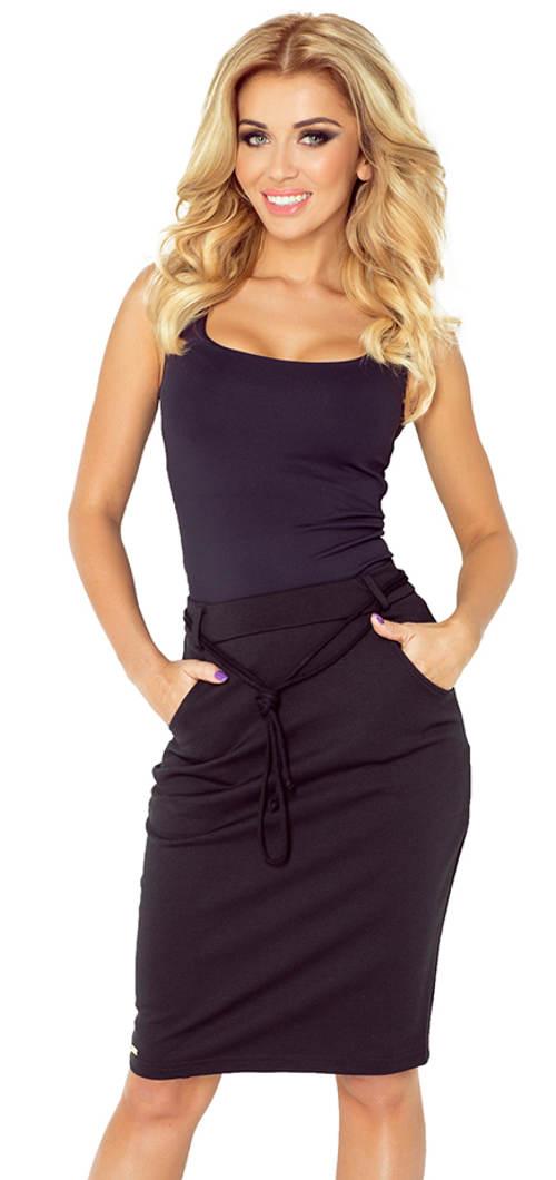Elastická sukně s kapsami a ozdobným páskem
