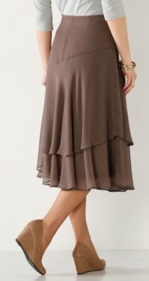 Hnědá vrstvená volánová sukně