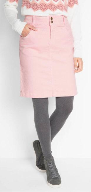 Jarní strečová manšestrová sukně