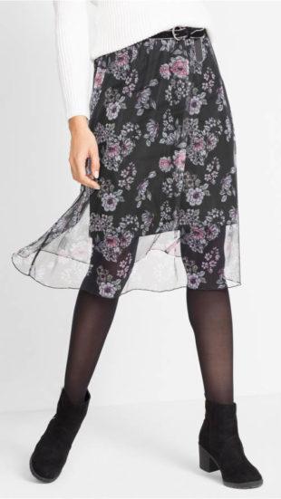 Lehounká síťovinová sukně s květovým vzorem