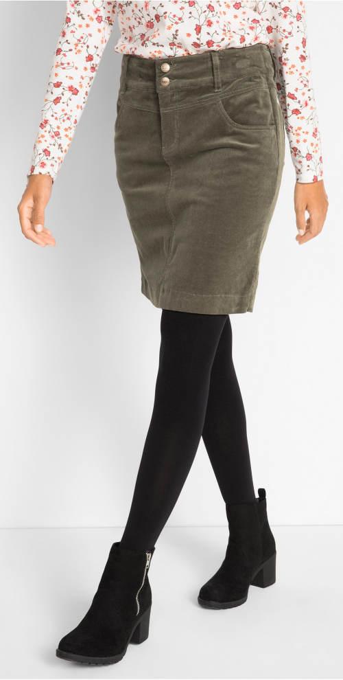 Manšestrová sukně k černým legínám