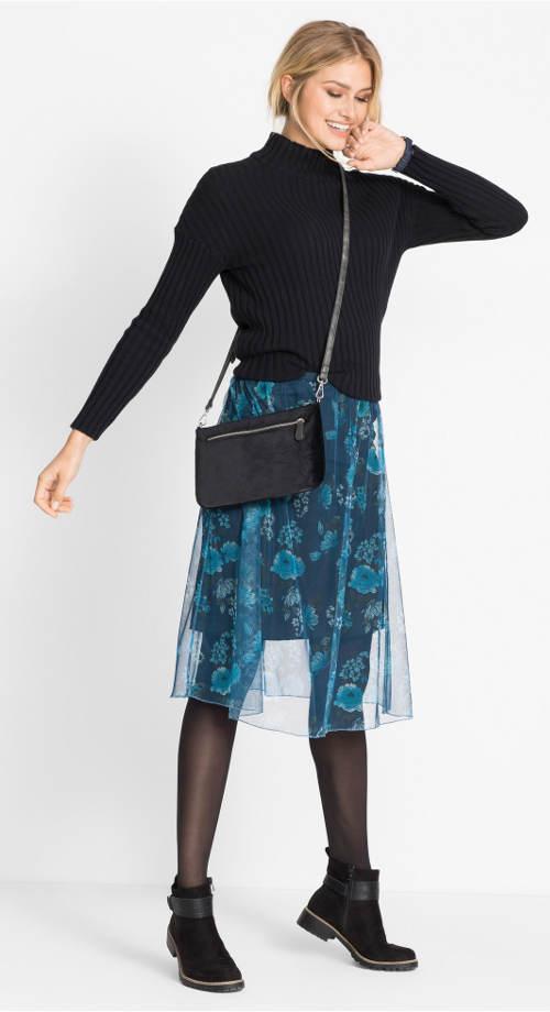 9b2ec17ad2a1 Modrá podzimní sukně ke svetru