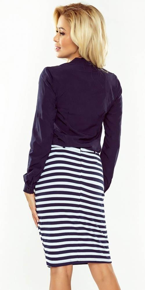 Pruhovaná dámská sukně ke kolenům
