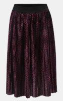 Růžovo-modrá vzorovaná plisovaná midi sukně