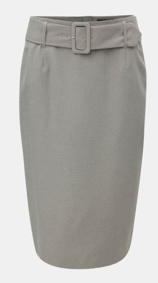 Šedá pouzdová sukně s páskem