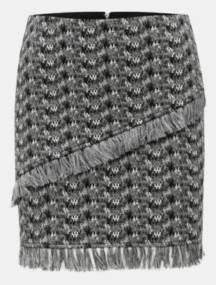 Šedá vrstvená sukně s třásněmi 437fc79734