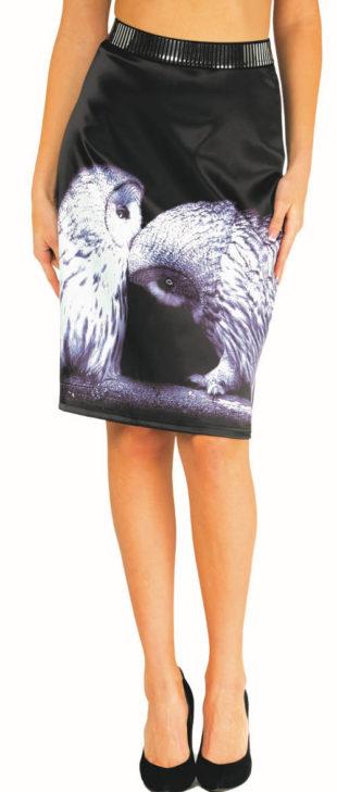 Španělská sukně s potiskem sov
