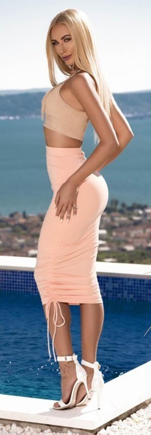 Vypasovaná vysoká sukně se stahovací šňůrkou