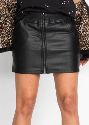 Krátká černá kožená sukně s celorozpínacím zipem