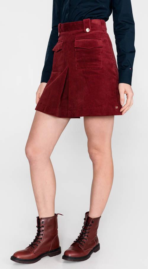 Krátká červená manšestrová sukně Tommy Hilfiger