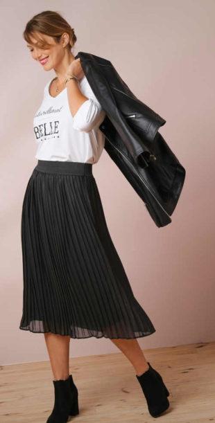 Plisovaná dámská midi sukně s pružným pásem