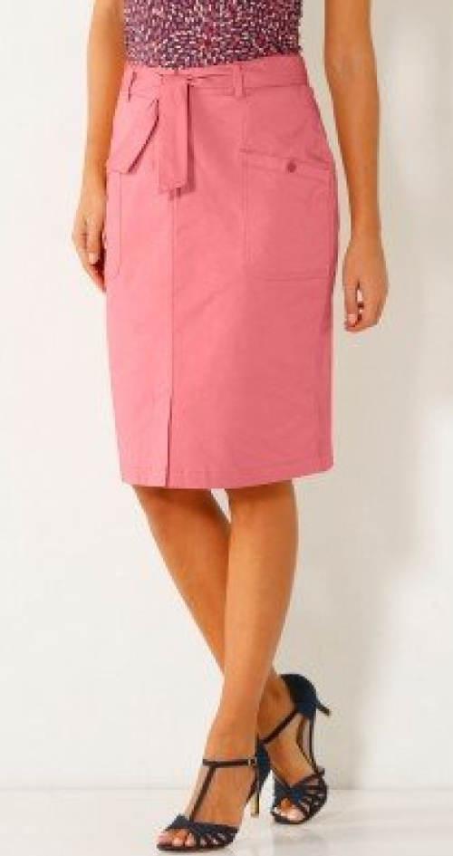 Růžová dámská sukně ve velikostech pro plnoštíhlé