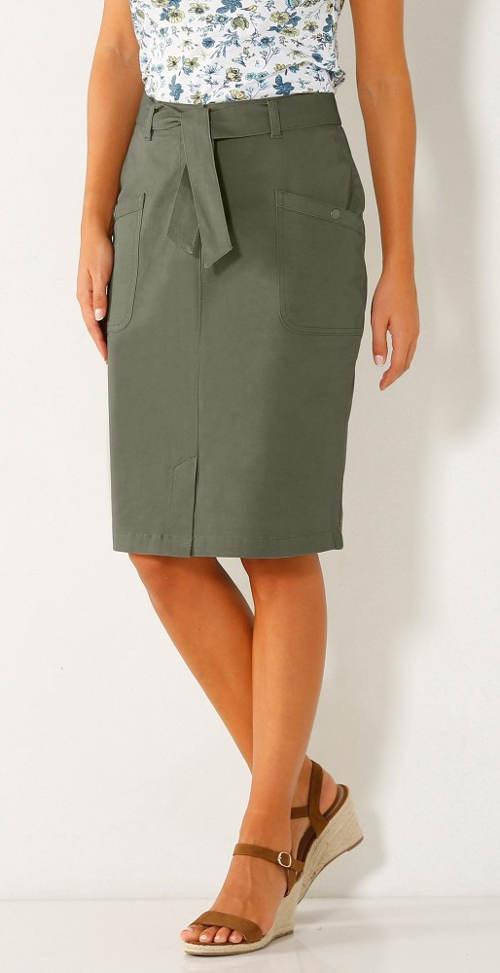 cd6c044f9d61 Šedá dámská sukně s páskem na zavazování ...