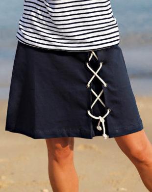Tmavě modrá dámská sukně se šněrovačkou