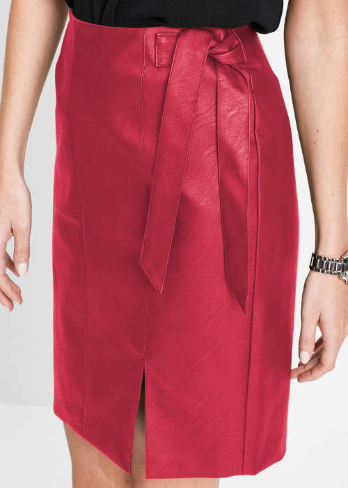 Vínová sukně z umělé kůže