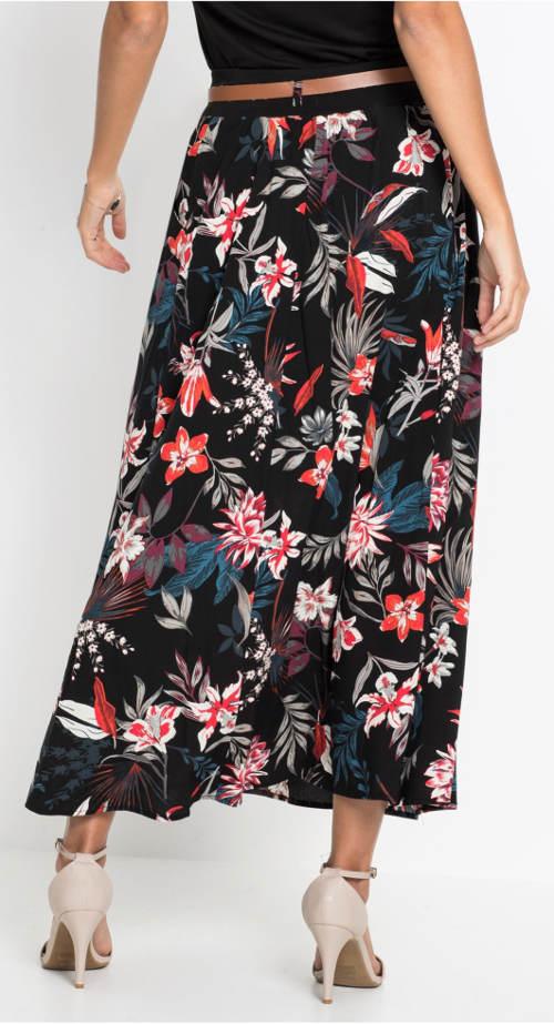 Černá dlouhá sukně s potiskem květin