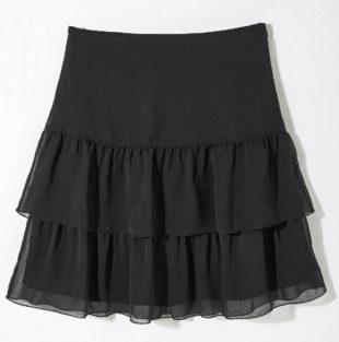 Černá vrstvená voálová sukně