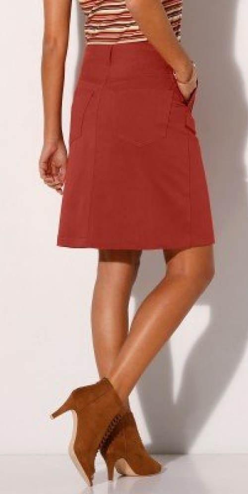 Cihlová dámská sukně ke kolenům