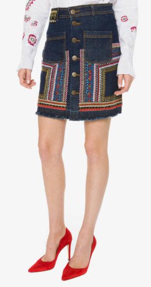 Džínová sukně s výšivkou Desigual - Leli