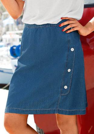 Džínová zavinovací rozšířená sukně