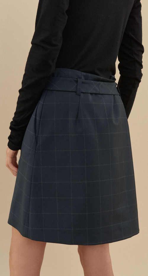 Elegantní vlněná tmavě modrá dámská sukně