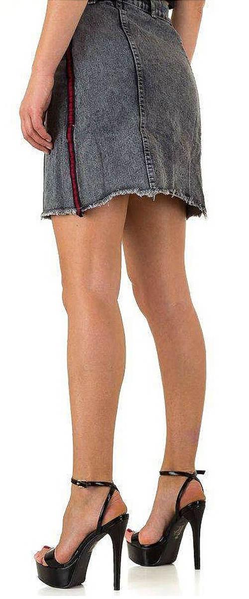 Krátká šedá riflová sukně