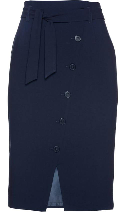Modrá společenská sukně s knoflíkovou légou