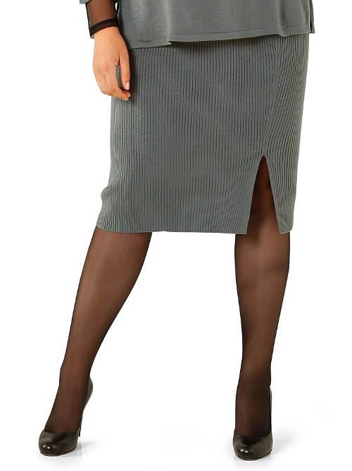 Pletená sukně ke kolenům pro plnoštíhlé