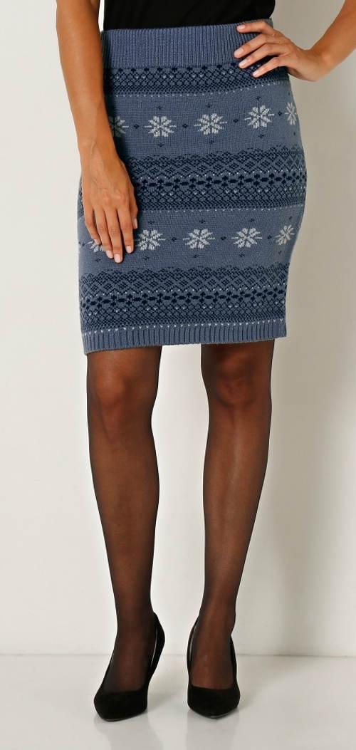 Pletená žakárová zimní sukně